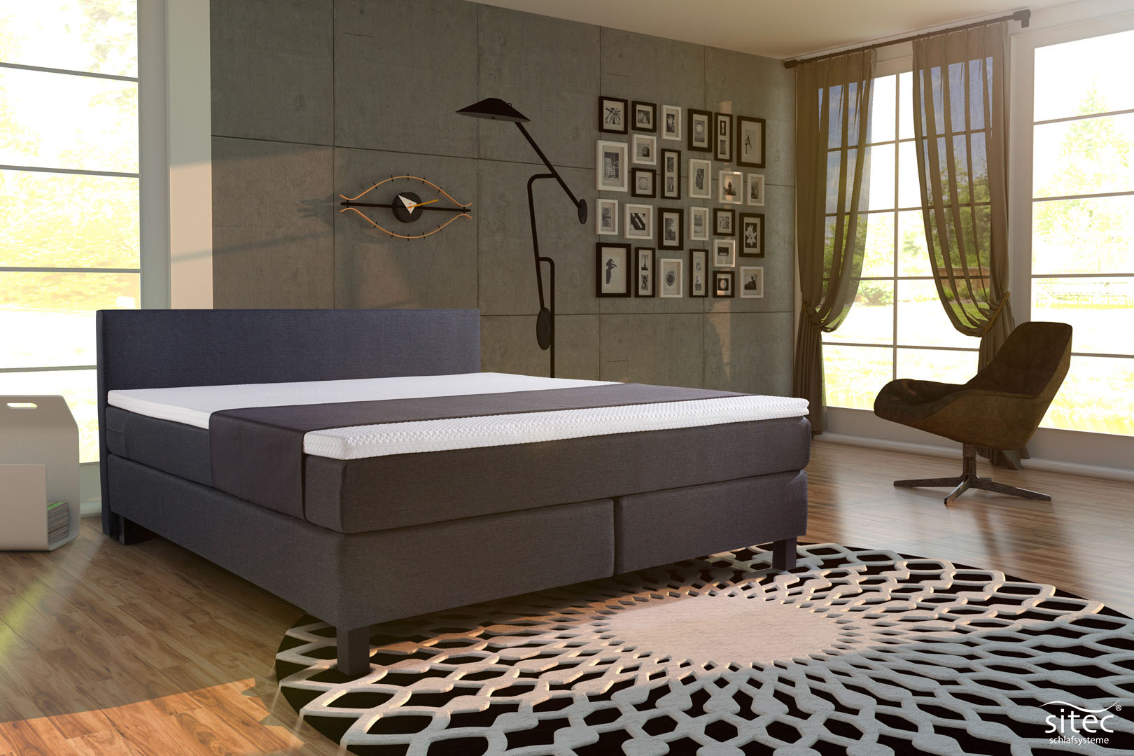 Boxspringbett London mit Polsterstoff Basic Topper