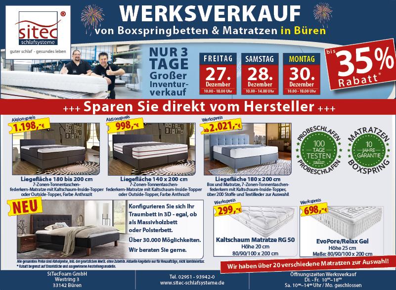 Anzeige sitec - Inventurverkauf Matratzen und Betten2019