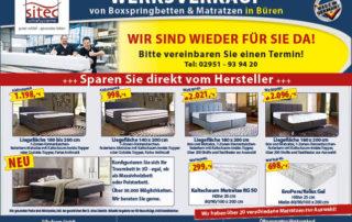 Sitec Werksverkauf in Büren für Matratzen und Betten wieder geöffnet